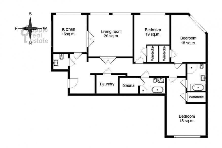 Floor plan of the 4-room apartment at Marshala Zhukova pr-t. 78