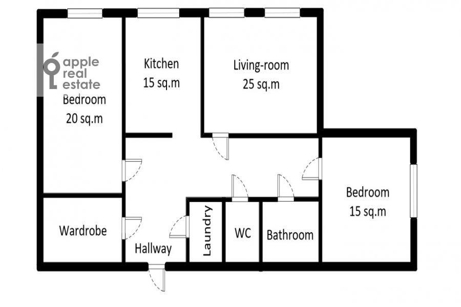 Floor plan of the 3-room apartment at Vavilova ul. 2