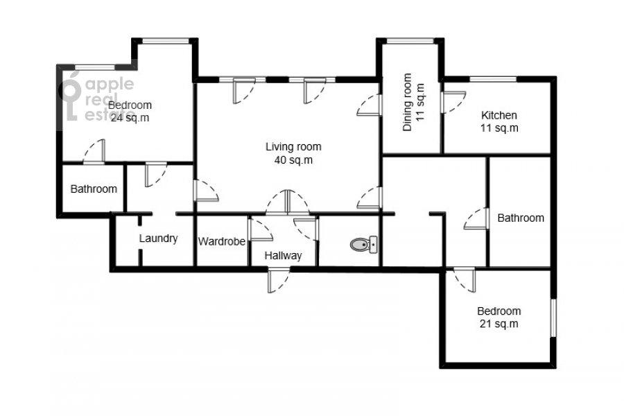 Floor plan of the 3-room apartment at Prechistenskiy per. 14s1
