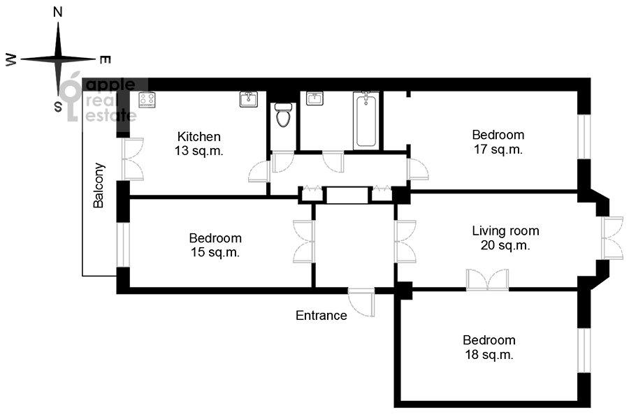Floor plan of the 4-room apartment at Smolenskaya nab. 5/13