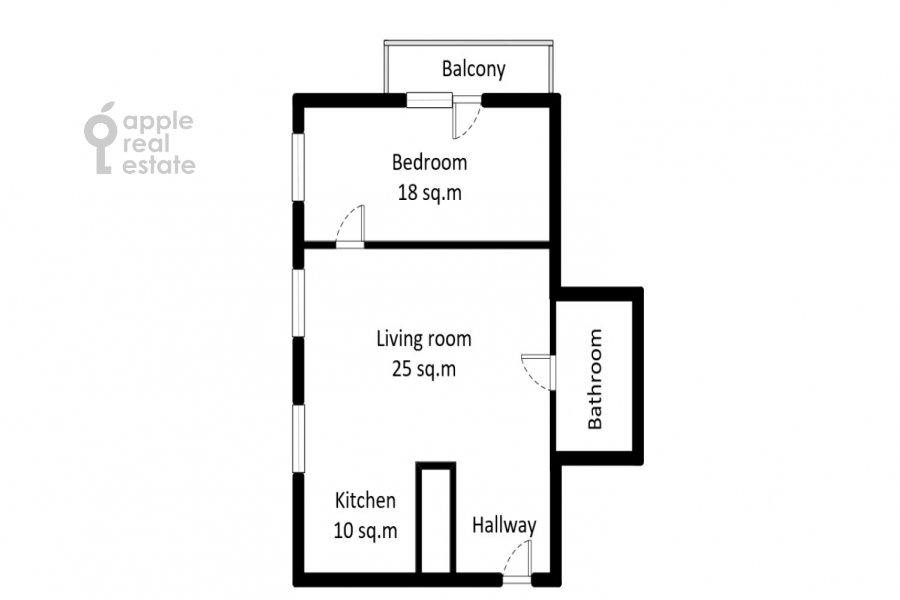 Floor plan of the 2-room apartment at Tverskaya ul. 8