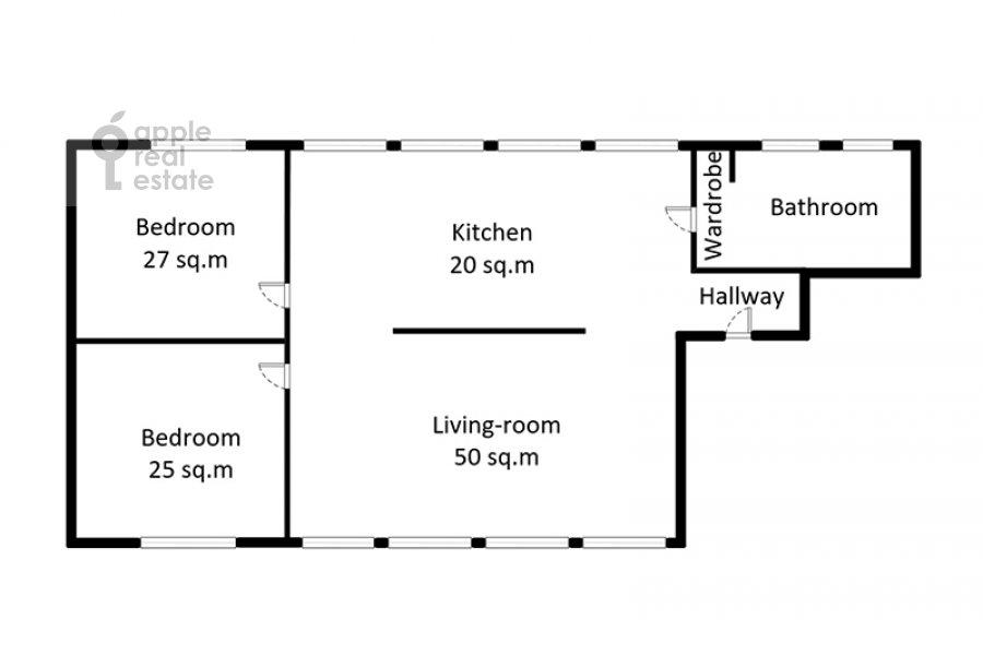 Поэтажный план 3-комнатной квартиры по адресу Скатертный пер. 22