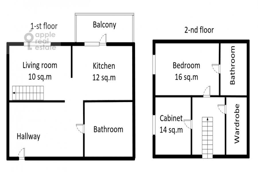 Floor plan of the 3-room apartment at 2-y Polevoy per. 2k3