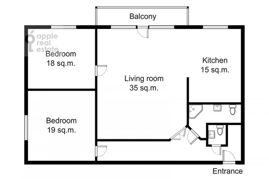 Поэтажный план 3-комнатной квартиры по адресу Арбат ул. 51