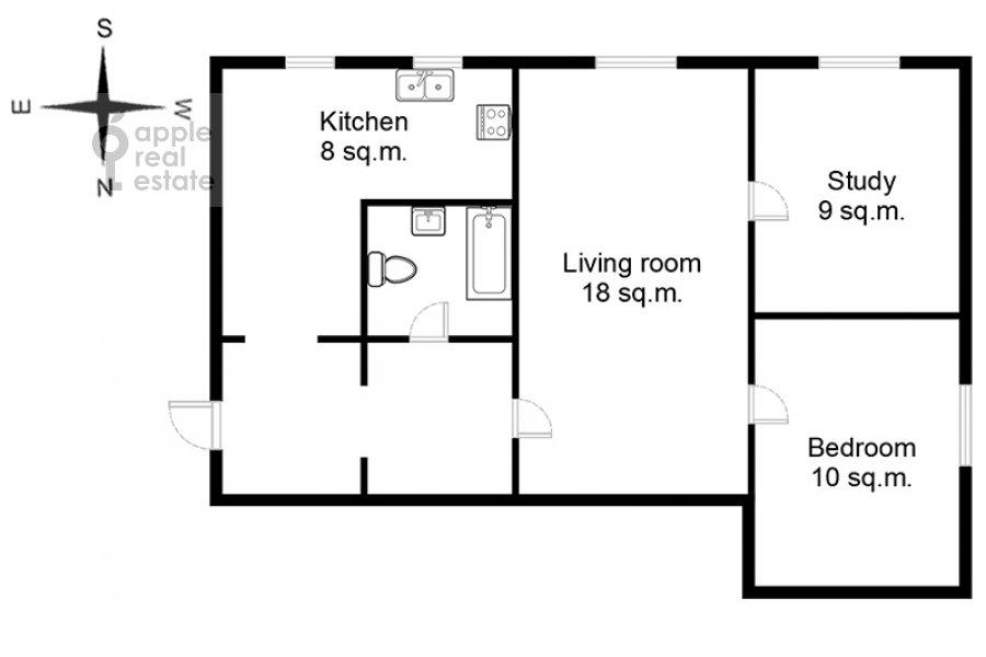 Поэтажный план 3-комнатной квартиры по адресу Малый Козихинский пер. 12