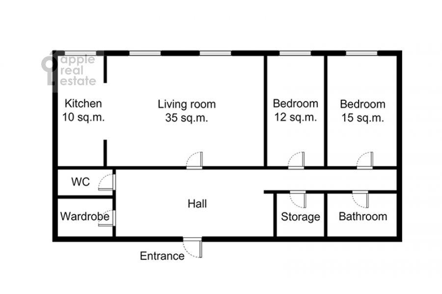 Поэтажный план 3-комнатной квартиры по адресу Ленинградский проспект 76к2