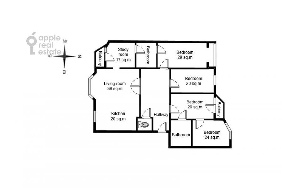 Поэтажный план 6-комнатной квартиры по адресу Лобачевского ул. 92к4