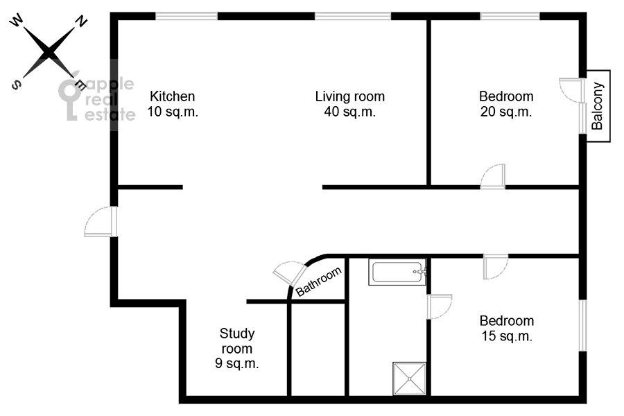 Поэтажный план 4-комнатной квартиры по адресу Садовая-Кудринская улица 14/16