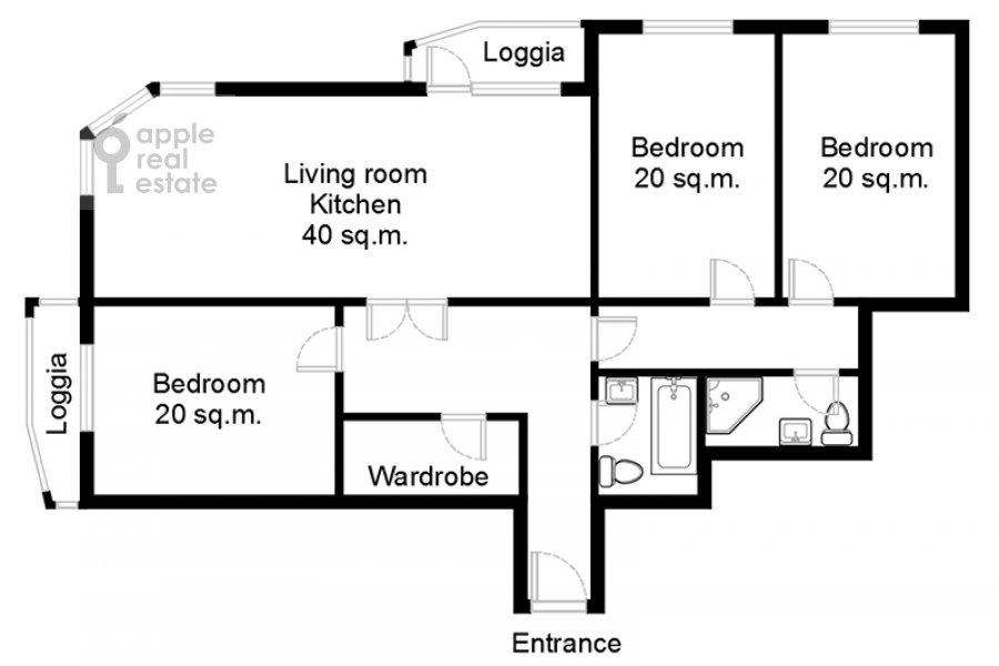 Floor plan of the 4-room apartment at Udal'tsova ul. 5k3