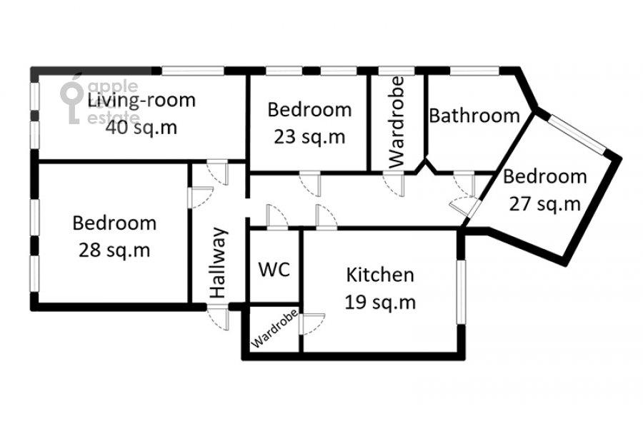 Поэтажный план 4-комнатной квартиры по адресу Брюсов переулок 6