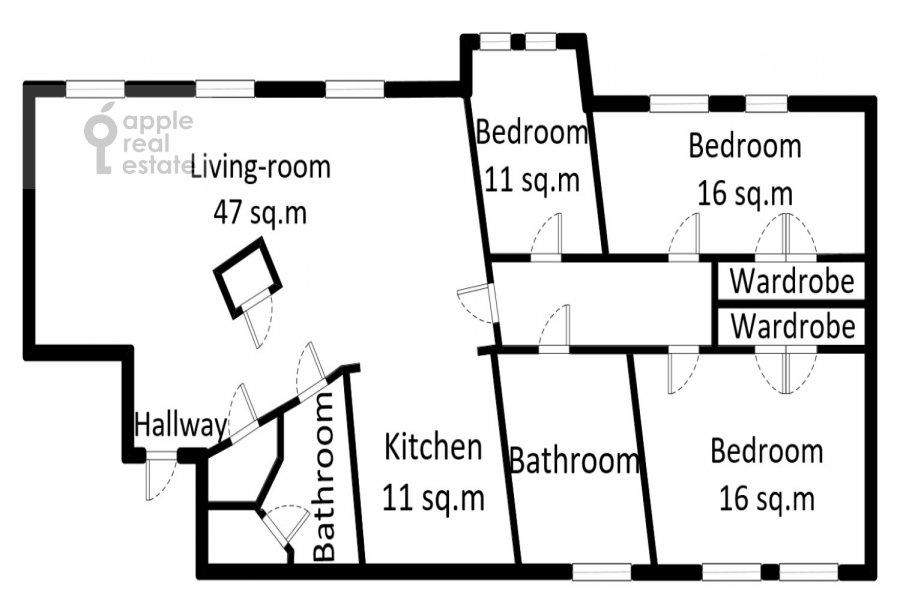 Поэтажный план 4-комнатной квартиры по адресу Климентовский пер. 6