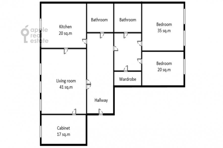 Floor plan of the 4-room apartment at Ostozhenka ul. 25