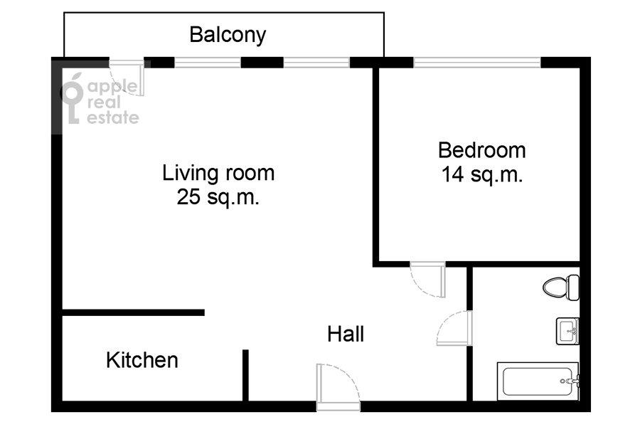 Floor plan of the 2-room apartment at Polyanka Malaya ul. 8