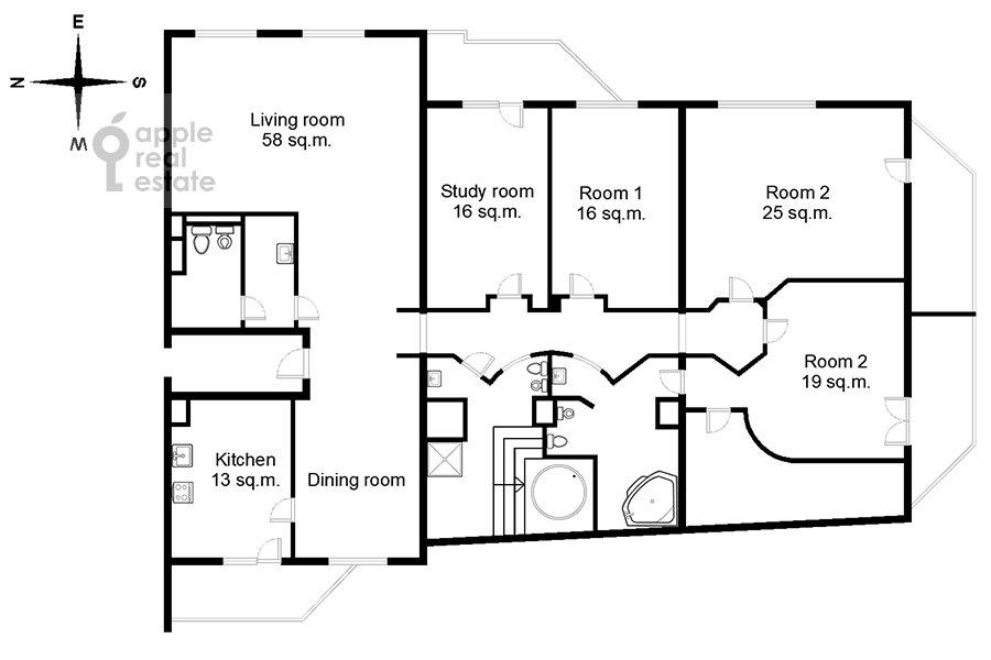 Поэтажный план 6-комнатной квартиры по адресу Саввинская наб. 7С3