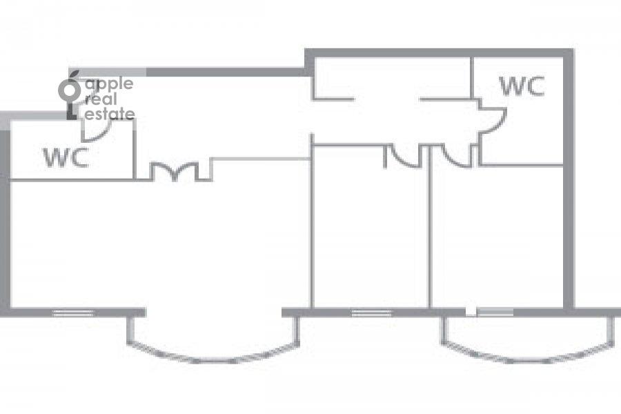 Floor plan of the 3-room apartment at Pochtovaya Bol'shaya ul. 5