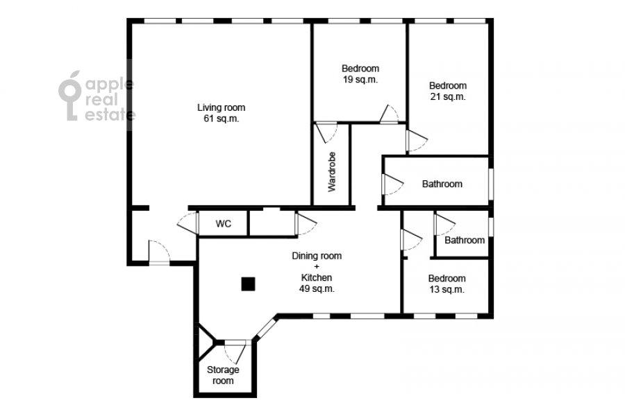Floor plan of the 5-room apartment at Malyy Levshinskiy pereulok 7