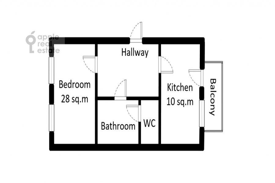 Поэтажный план 1-комнатной квартиры по адресу Палиха ул. 7/9С4