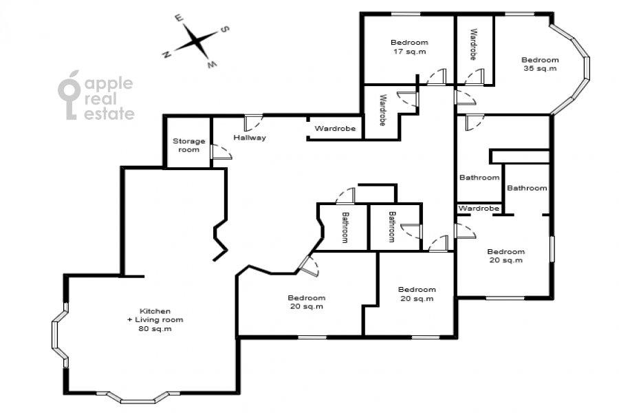 Floor plan of the 6-room apartment at Beregovaya ul. 4k5
