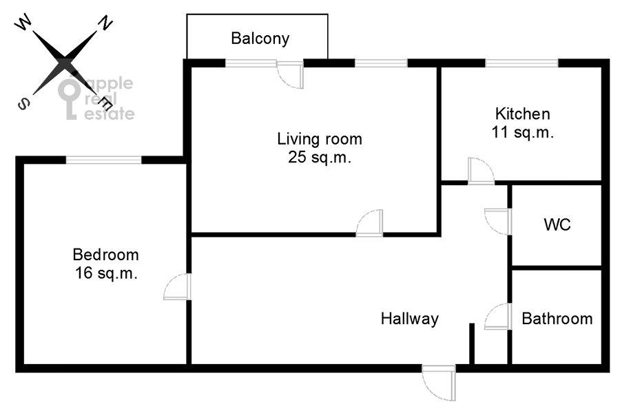 Поэтажный план 2-комнатной квартиры по адресу Грузинская Большая ул. 39