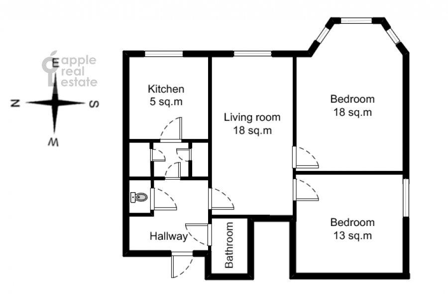 Поэтажный план 3-комнатной квартиры по адресу Карманицкий пер. 3c1