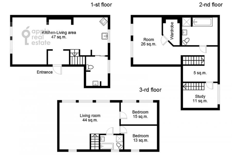 Floor plan of the 6-room apartment at Tverskaya ul. 27