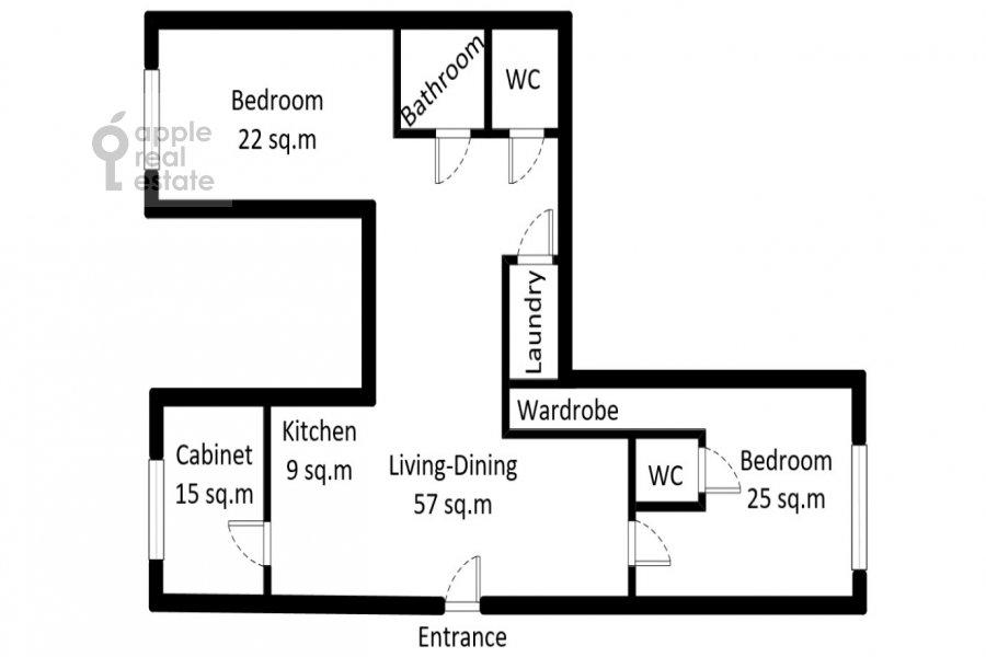 Поэтажный план 4-комнатной квартиры по адресу Мосфильмовская ул. 70к4