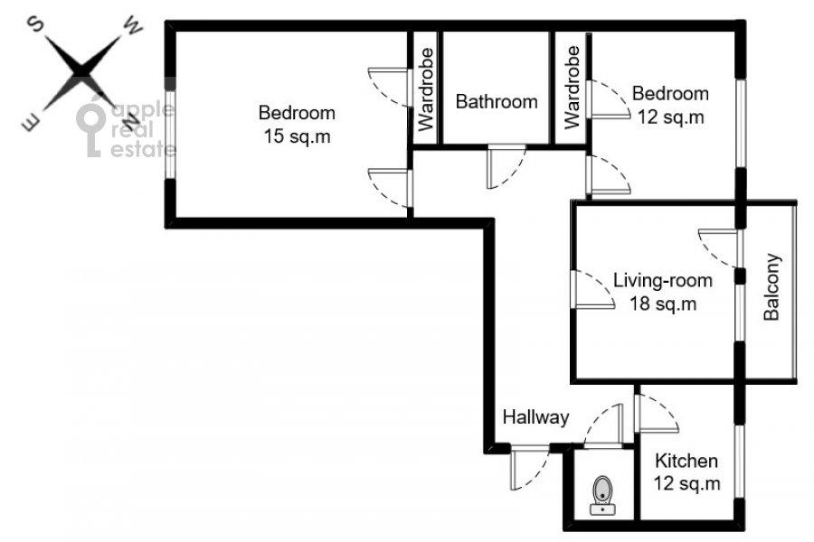 Floor plan of the 3-room apartment at Miusskaya 2-ya ul. 3/5