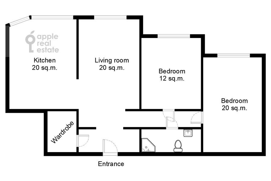 Floor plan of the 3-room apartment at Udal'tsova ul. 81