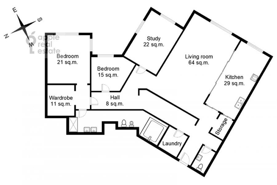 Поэтажный план 4-комнатной квартиры по адресу Зачатьевский 1-й пер. 5