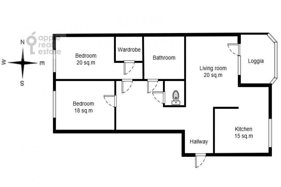Поэтажный план 3-комнатной квартиры по адресу Шаболовка 10к1