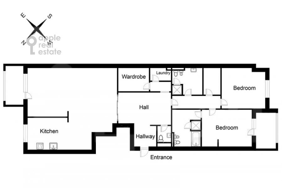 Поэтажный план 3-комнатной квартиры по адресу Хилков пер. 1