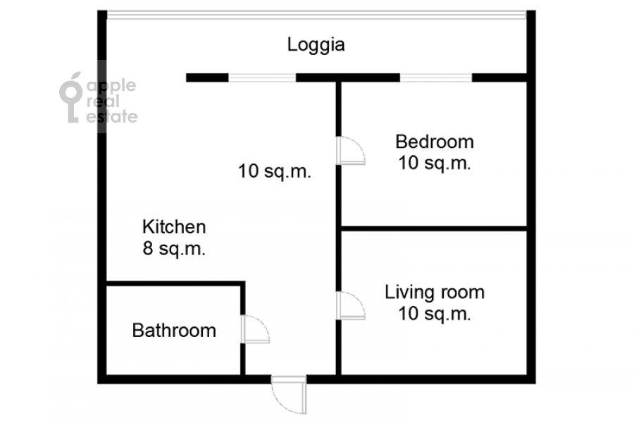 Поэтажный план 1-комнатной квартиры по адресу Полянка Большая ул. 28с1