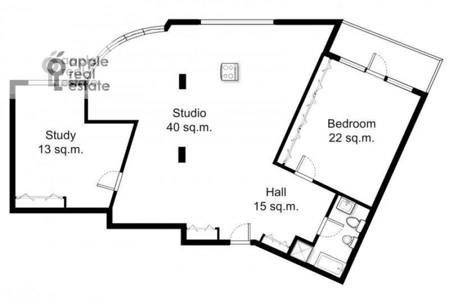 Floor plan of the 3-room apartment at Arkhitektora Vlasova 22