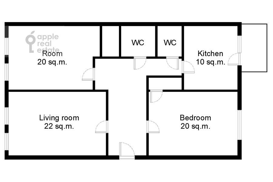 Floor plan of the 3-room apartment at Krasnopresnenskaya nab. 2/1