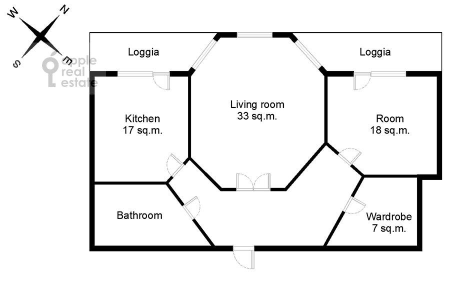 Поэтажный план 2-комнатной квартиры по адресу Удальцова ул. 32с1