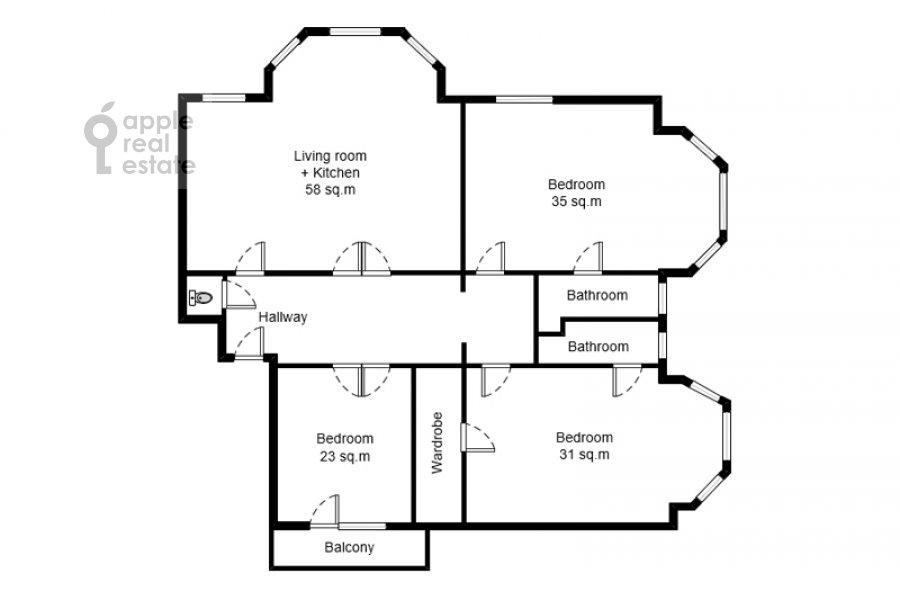 Floor plan of the 4-room apartment at Kolymazhnyy pereulok 10