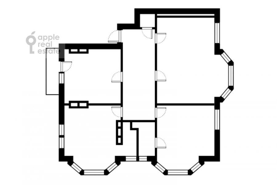Поэтажный план 4-комнатной квартиры по адресу Колымажный пер. 10