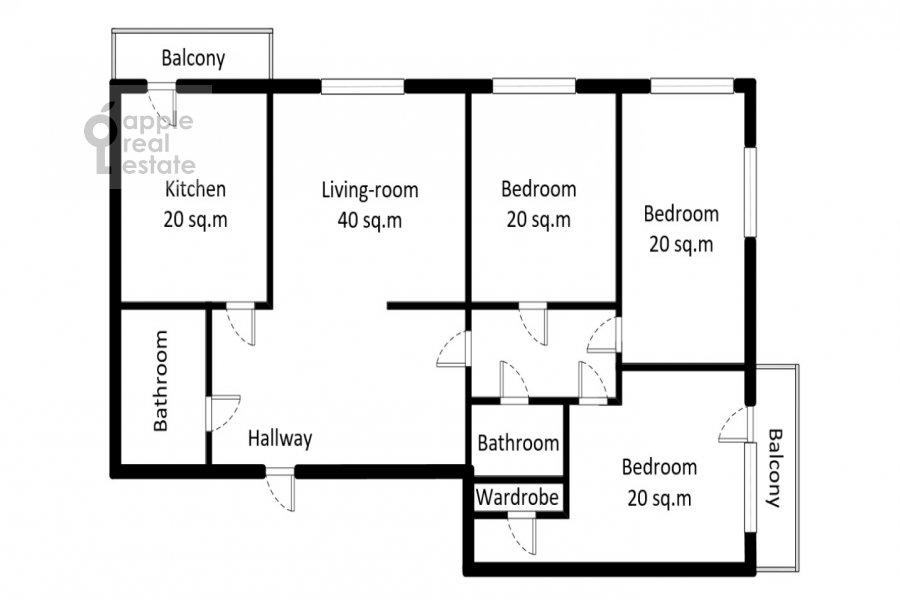 Поэтажный план 4-комнатной квартиры по адресу Вернадского пр-т. 37