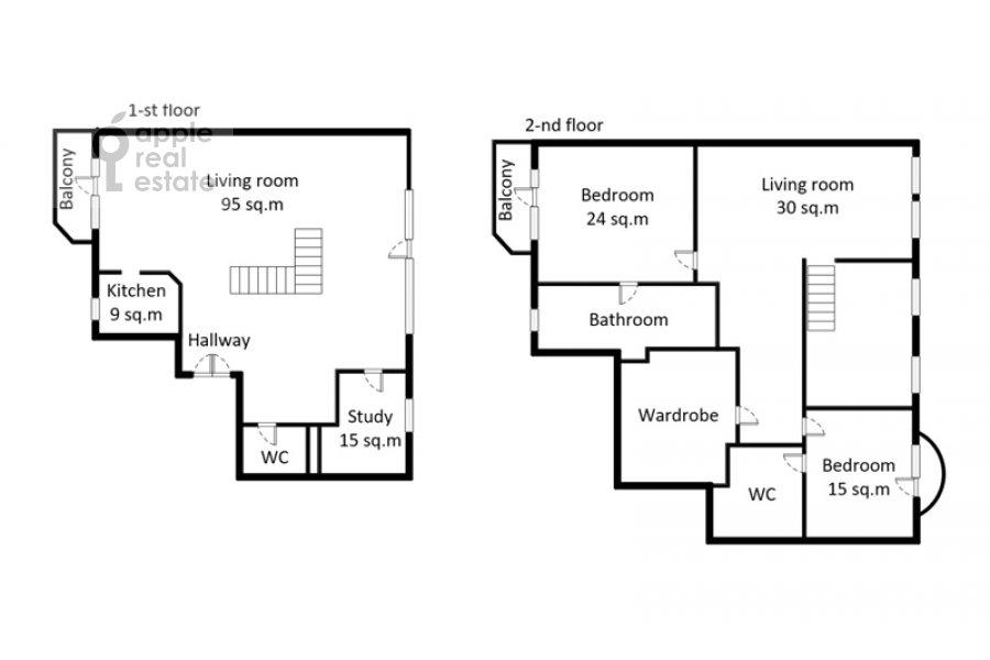 Floor plan of the 4-room apartment at Denezhnyy pereulok 14/3
