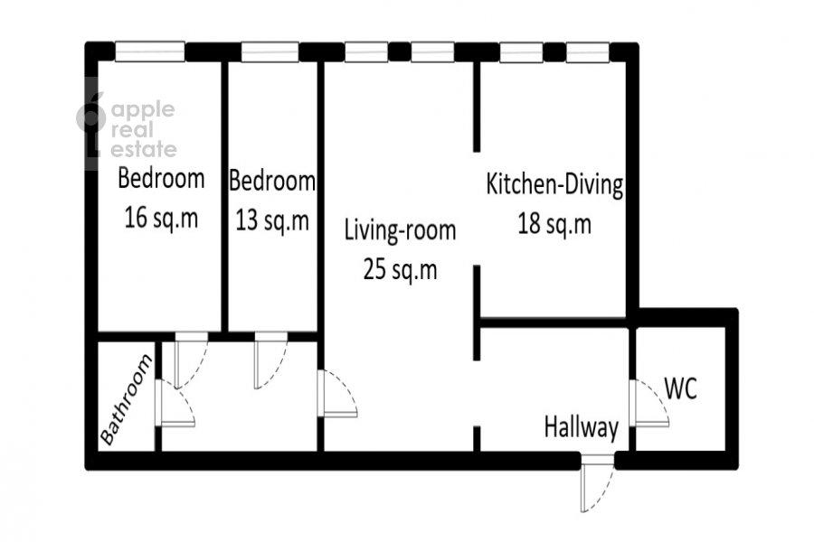 Floor plan of the 3-room apartment at Milyutinskiy per. 3