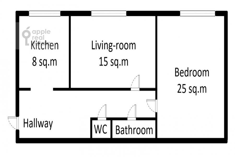 Поэтажный план 2-комнатной квартиры по адресу 1-я Тверская-Ямская ул. 13с1