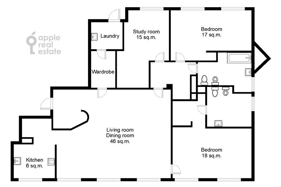 Поэтажный план 4-комнатной квартиры по адресу Бутиковский пер. 16с3