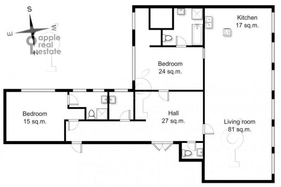 Floor plan of the 3-room apartment at Myasnitskaya ul. 24/7s2