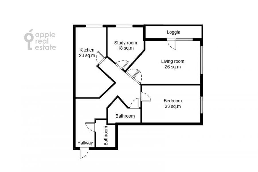 Поэтажный план 3-комнатной квартиры по адресу Звенигородская ул. 8к1