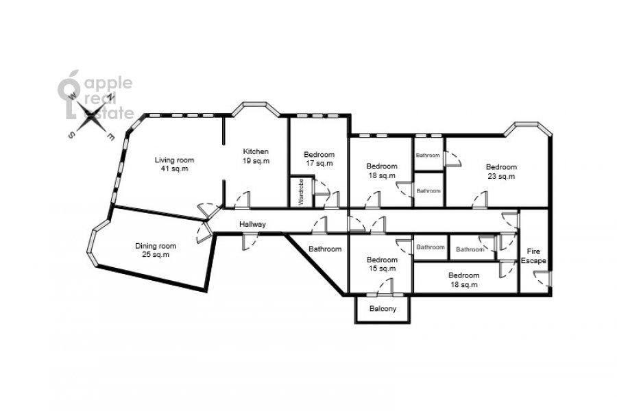 Поэтажный план 6-комнатной квартиры по адресу Тверская-Ямская 4-я ул. 26/8