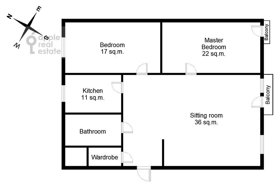 Поэтажный план 3-комнатной квартиры по адресу Тверская улица 6с3