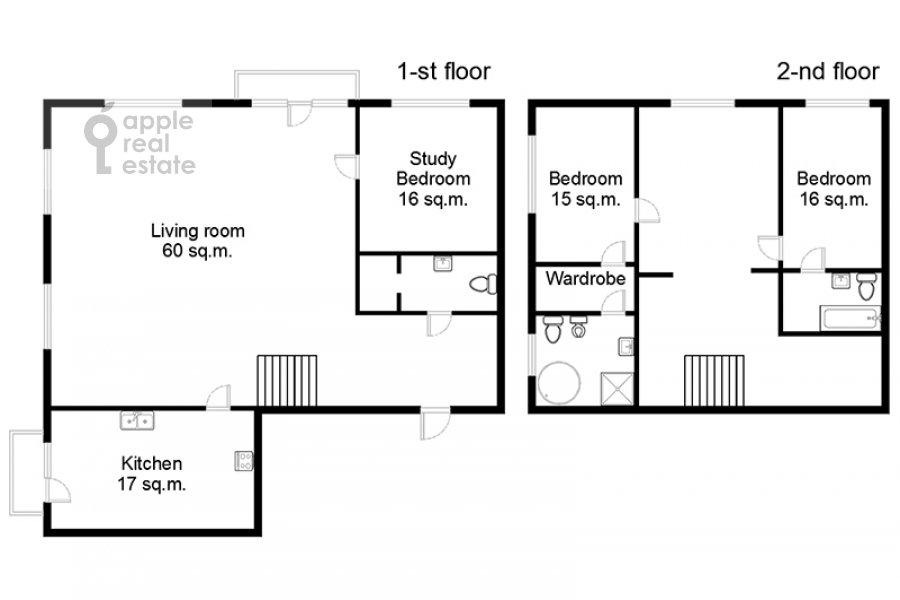 Floor plan of the 4-room apartment at Skaryatinskiy per. 7