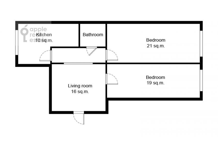 Поэтажный план 3-комнатной квартиры по адресу Ленинский проспект 40