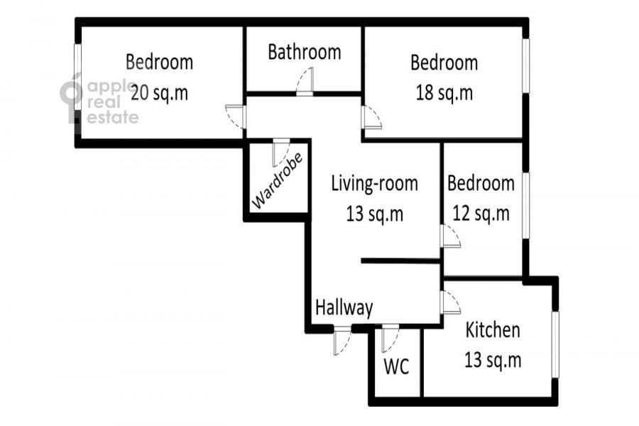 Поэтажный план 4-комнатной квартиры по адресу Ходынский бул. 9