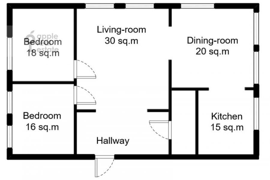 Floor plan of the 4-room apartment at Znamenka ul. 15